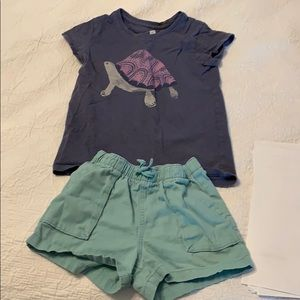 Turtle Graphic Tee and Solid Woven Pull-On Shorts